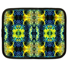 Mystic Yellow Green Ornament Pattern Netbook Case (large) by Costasonlineshop