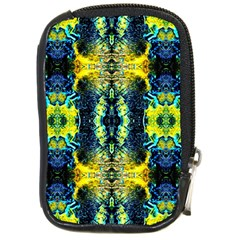 Mystic Yellow Green Ornament Pattern Compact Camera Cases by Costasonlineshop