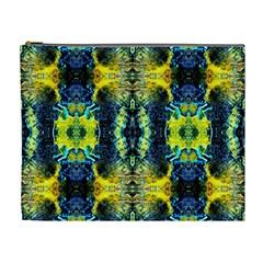 Mystic Yellow Green Ornament Pattern Cosmetic Bag (xl) by Costasonlineshop
