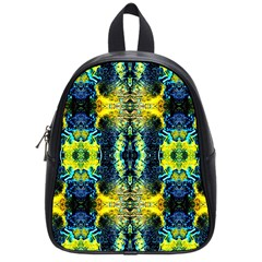 Mystic Yellow Green Ornament Pattern School Bags (small)  by Costasonlineshop
