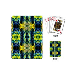 Mystic Yellow Green Ornament Pattern Playing Cards (mini)