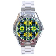 Mystic Yellow Green Ornament Pattern Stainless Steel Analogue Watch