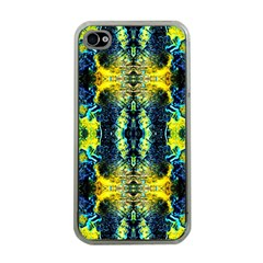 Mystic Yellow Green Ornament Pattern Apple Iphone 4 Case (clear)