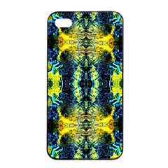Mystic Yellow Green Ornament Pattern Apple Iphone 4/4s Seamless Case (black) by Costasonlineshop