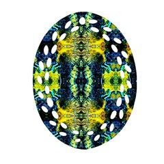 Mystic Yellow Green Ornament Pattern Ornament (oval Filigree) by Costasonlineshop