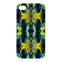 Mystic Yellow Green Ornament Pattern Apple Iphone 4/4s Premium Hardshell Case