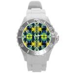 Mystic Yellow Green Ornament Pattern Round Plastic Sport Watch (L) Front