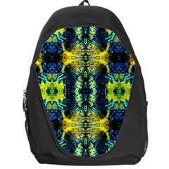 Mystic Yellow Green Ornament Pattern Backpack Bag