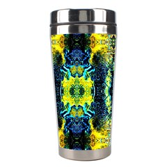 Mystic Yellow Green Ornament Pattern Stainless Steel Travel Tumblers