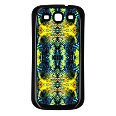 Mystic Yellow Green Ornament Pattern Samsung Galaxy S3 Back Case (black)