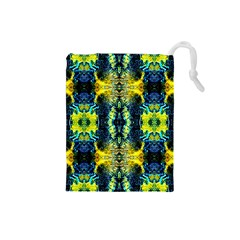 Mystic Yellow Green Ornament Pattern Drawstring Pouches (small)