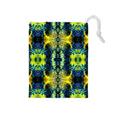 Mystic Yellow Green Ornament Pattern Drawstring Pouches (medium)