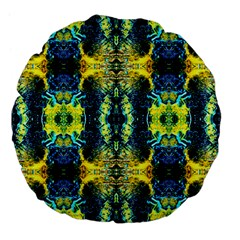 Mystic Yellow Green Ornament Pattern Large 18  Premium Flano Round Cushions by Costasonlineshop