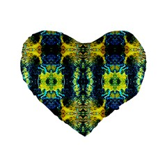 Mystic Yellow Green Ornament Pattern Standard 16  Premium Flano Heart Shape Cushions by Costasonlineshop