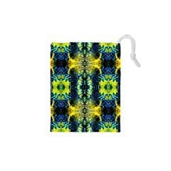 Mystic Yellow Green Ornament Pattern Drawstring Pouches (xs)