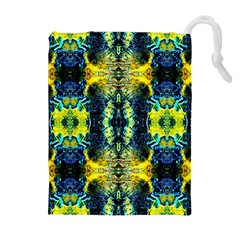 Mystic Yellow Green Ornament Pattern Drawstring Pouches (extra Large) by Costasonlineshop