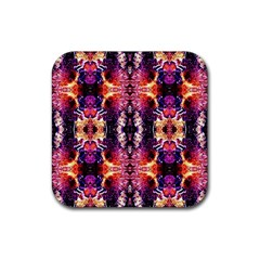 Mystic Red Blue Ornament Pattern Rubber Square Coaster (4 Pack)  by Costasonlineshop