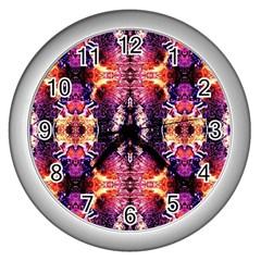 Mystic Red Blue Ornament Pattern Wall Clocks (silver)