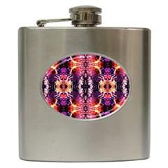 Mystic Red Blue Ornament Pattern Hip Flask (6 Oz)