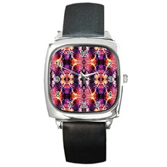 Mystic Red Blue Ornament Pattern Square Metal Watch by Costasonlineshop