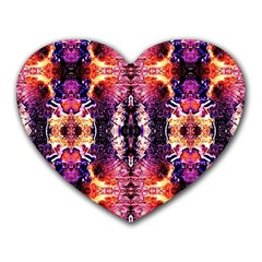 Mystic Red Blue Ornament Pattern Heart Mousepads by Costasonlineshop