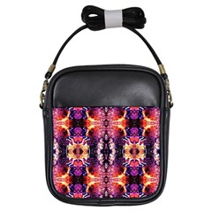 Mystic Red Blue Ornament Pattern Girls Sling Bags