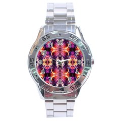 Mystic Red Blue Ornament Pattern Stainless Steel Analogue Watch