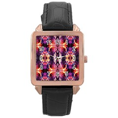Mystic Red Blue Ornament Pattern Rose Gold Leather Watch