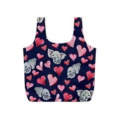 Elephant Lover Hearts Elephants Full Print Recycle Bag (s) by BubbSnugg