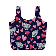 Elephant Lover Hearts Elephants Full Print Recycle Bag (m) by BubbSnugg