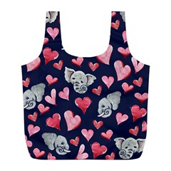 Elephant Lover Hearts Elephants Full Print Recycle Bag (l) by BubbSnugg