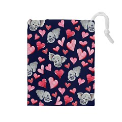Elephant Lover Hearts Elephants Drawstring Pouch (large) by BubbSnugg