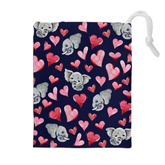 Elephant Lover Hearts Elephants Drawstring Pouch (xl) by BubbSnugg