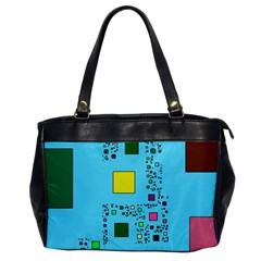 Squares On A Blue Background            Oversize Office Handbag by LalyLauraFLM