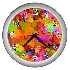 Colorful Shapes             Wall Clock (silver) by LalyLauraFLM