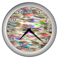 Colorful Watercolors           Wall Clock (silver) by LalyLauraFLM