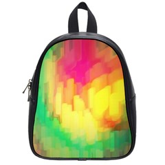 Pastel Shapes Painting            School Bag (small) by LalyLauraFLM