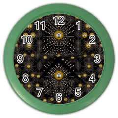 Lace Of Pearls In The Earth Galaxy Pop Art Color Wall Clocks by pepitasart
