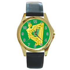 The Green Harp Flag Of Ireland (1642 1916) Round Gold Metal Watch by abbeyz71