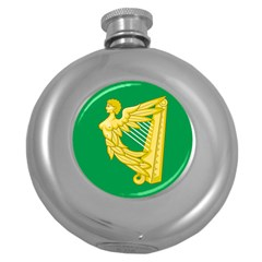The Green Harp Flag Of Ireland (1642 1916) Round Hip Flask (5 Oz) by abbeyz71