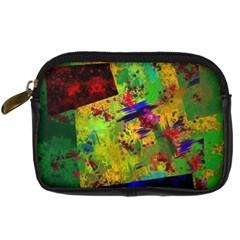 Green Paint        Digital Camera Leather Case by LalyLauraFLM