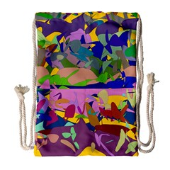 Shapes In Retro Colors              Large Drawstring Bag by LalyLauraFLM