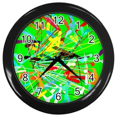 Colorful Painting On A Green Background              Wall Clock (black) by LalyLauraFLM