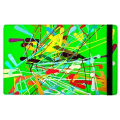Colorful Painting On A Green Background        Apple Ipad 2 Flip Case by LalyLauraFLM