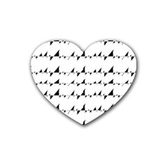 Black And White Wavy Stripes Pattern Rubber Coaster (heart)  by dflcprints