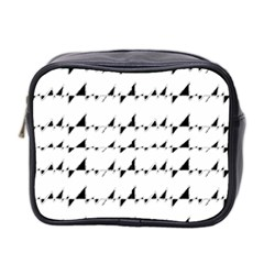 Black And White Wavy Stripes Pattern Mini Toiletries Bag 2 Side by dflcprints