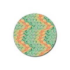 Emerald And Salmon Pattern Rubber Coaster (round)  by linceazul