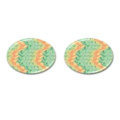 Emerald And Salmon Pattern Cufflinks (oval) by linceazul