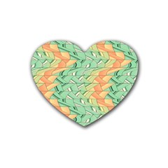 Emerald And Salmon Pattern Heart Coaster (4 Pack)  by linceazul