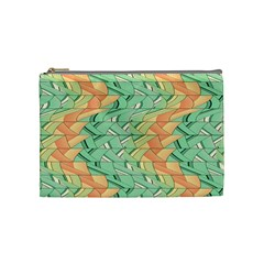 Emerald And Salmon Pattern Cosmetic Bag (medium)  by linceazul